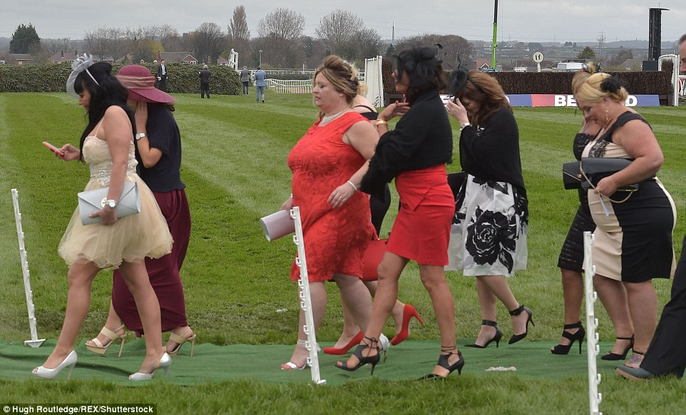 Skyscraper heels were out in force as fashion fans donned their most glamorous outfits for Ladies Day