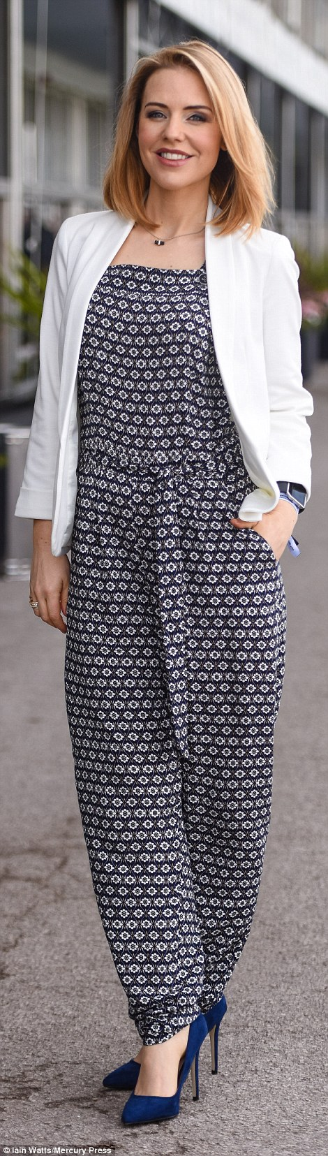 Stephanie Waring (left), 37, who plays Cindy Cunningham in Hollyoaks stunned in a £38 geometric print navy jumpsuit from Dorothy Perkins with navy high pointed court shoes and an ivory Miss Selfridge jacket