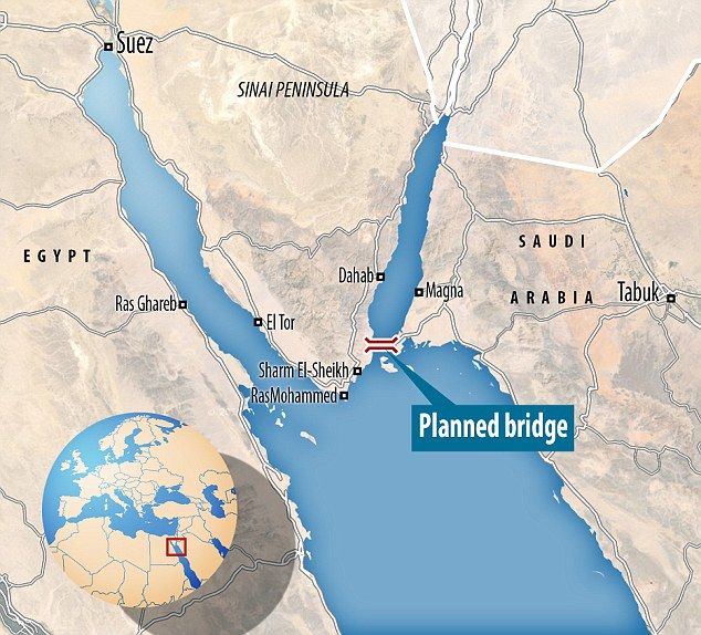 There has been long-held suggestions of the construction of a 30 mile bridge, stretching from Ras Nasrani, close to the Egyptian resort of Sharm el-Sheikh to Ras Hamid in northwestern Saudi Arabia