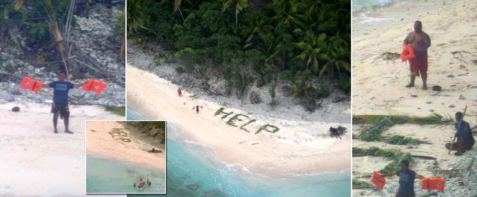 'HELP' sign written in palm fronds by three men trapped on a Pacific island
