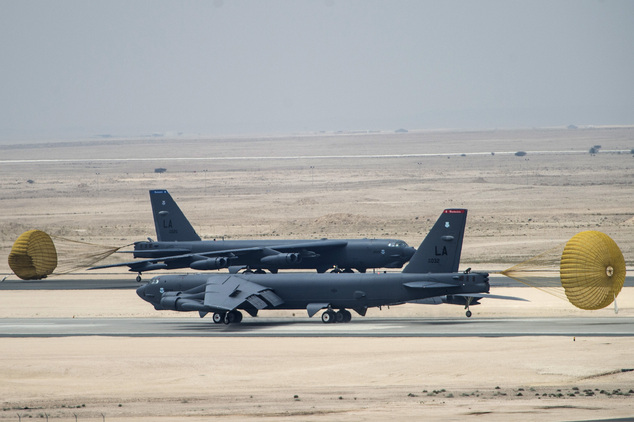U.S. Air Force B-52 Stratofortress aircraft from Barksdale Air Force Base, Louisiana, arrive at Al Udeid Air Base, Qatar, Saturday, April 9, 2016. The U.S. A...