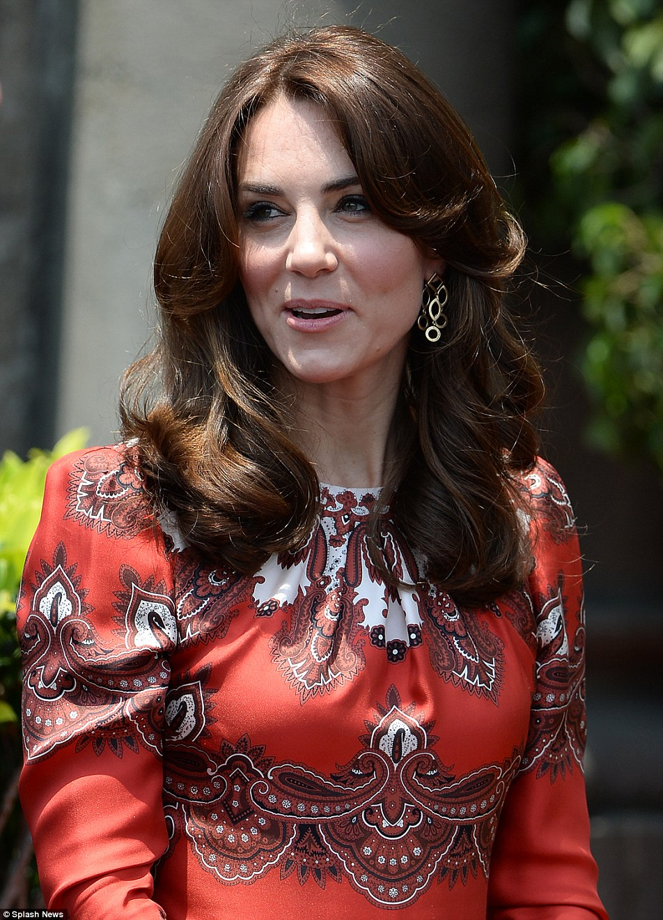 Plenty of thought: The Duchess blended Indian colour with British couture as she chose an Alexander McQueen dress for her arrival