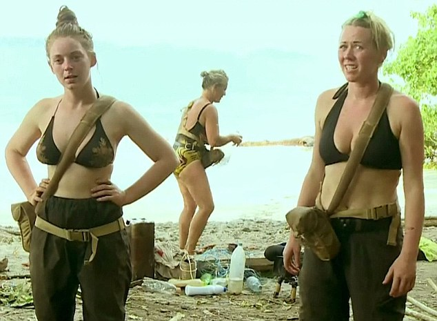 Clothing: Tilly, left, and Sarah, right, are two of the women who have been wearing bikini tops on the Pacific island in order to keep cool