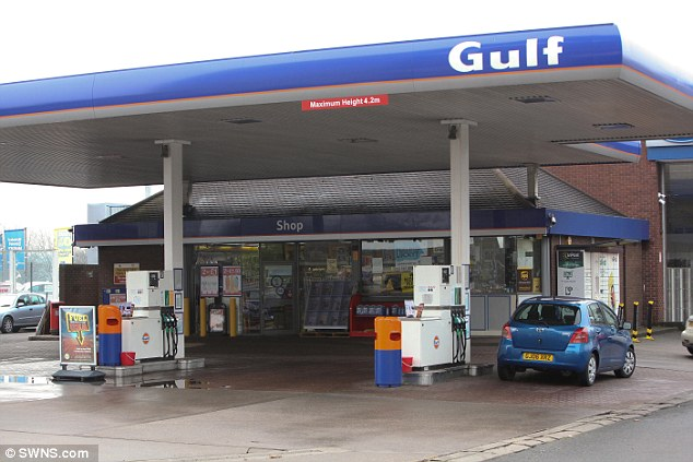 The incident happened at the Gulf petrol station (pictured) on Bristol Road, Birmingham, at 4.30am on Saturday