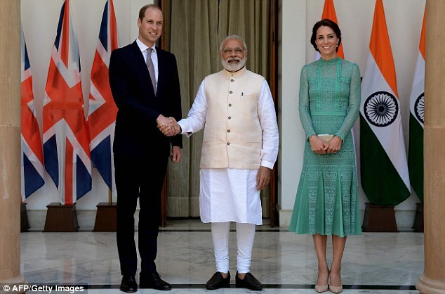 The Duke of Cambridge shakes hands with Prime Minister Narendra Modi at Hyderabad House in New Delhi