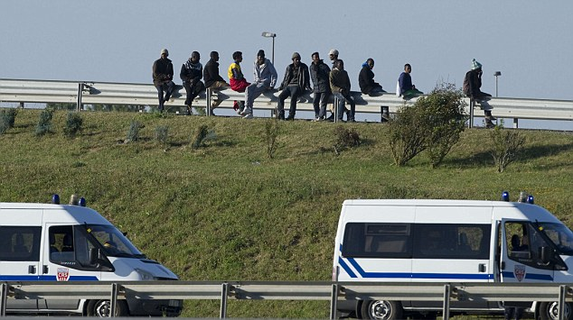 Two drivers have been violently attacked by a gang of British-bound migrants at a motorway rest area near Calais (file picture)
