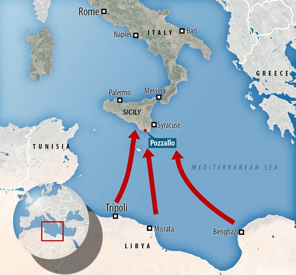Viaje: Barcos de Guerra dejan Pozallo, Sicilia, y recoger botes de migrantes que se han ejecutado en problemas a sólo 30 millas del costo de Libia y el taxi de vuelta a Europa, donde se dispersan alrededor de la isla