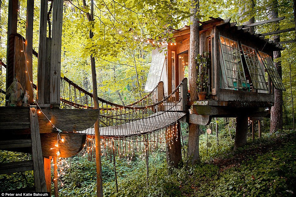 If you go down to the woods today: This stunning treehouse is nestled amid lush woodland in Atlanta and is available to rent on Airbnb