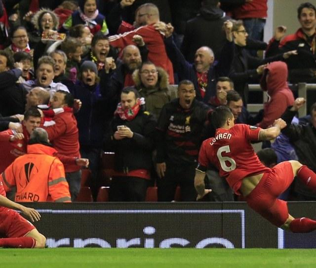 Dejan Lovren Right Celebrates Scoring The Winning Goal For Liverpool In An Epic Encounter
