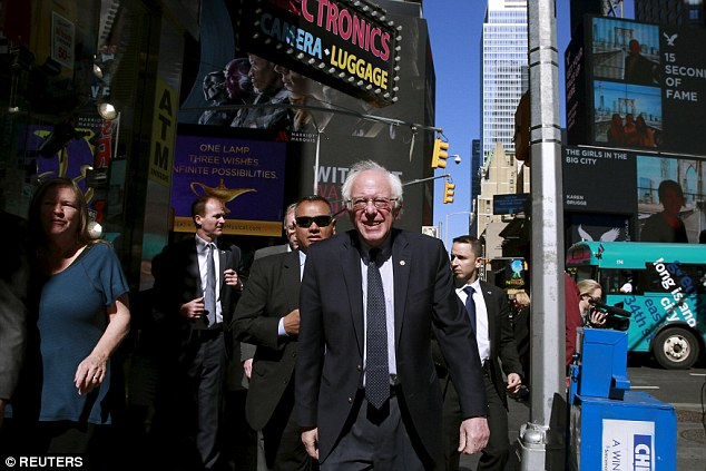 Bernie Sanders was in New York City this morning and will spend his day at rallies in Pennsylvania, one of five states that votes a week from today. He'll address his supporters before the race is decided in New York