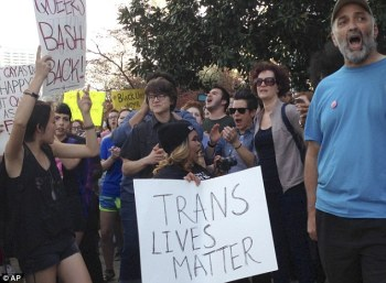 The debate over gendered restrooms has centered around North Carolina's House Bill 2, passed on March 25, which ordered public schools, government agencies and public college to designate bathrooms by biological sex stated on a person's birth certificate. Many protested the passing (pictured)