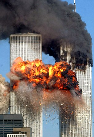 Fresh information allegedly connecting Saudi Arabian authorities and the 9/11 terror attacks has been released. Above, the Twin Towers after they were hit by the hijacked planes