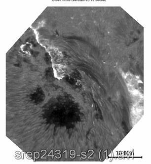 Nos momentos após a explosão solar que derrama a superfície visível do sol onde ele cair após as explosões.