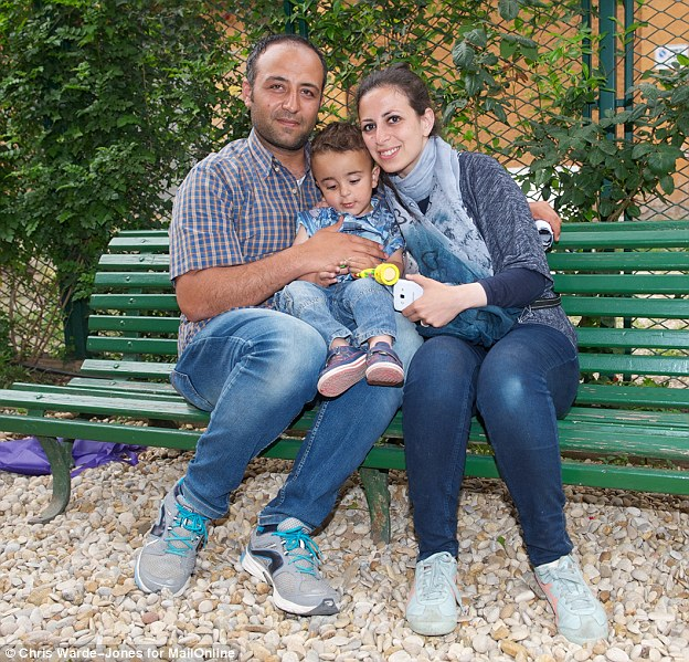 Dream: Syrian migrants Nour and her husband Hasan, 31, were rescued with their son Riad, two. Hasan told MailOnline: 'We did not know we were going to be chosen [to be taken to Italy with the Pope]'
