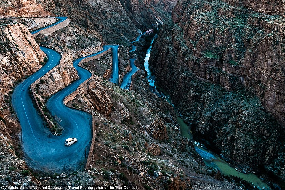 This mind-bending road cuts through the Gorges du Dades  between walls of rock near to Boumalne, Souss-Massa-Draa, Morocco