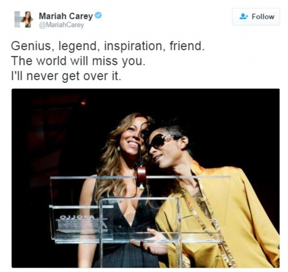 Mariah Carey, who joined Prince on stage at the Apollo Theatre to pay tribute to Patti LaBelle in June 2009, said she would 'never get over' his death