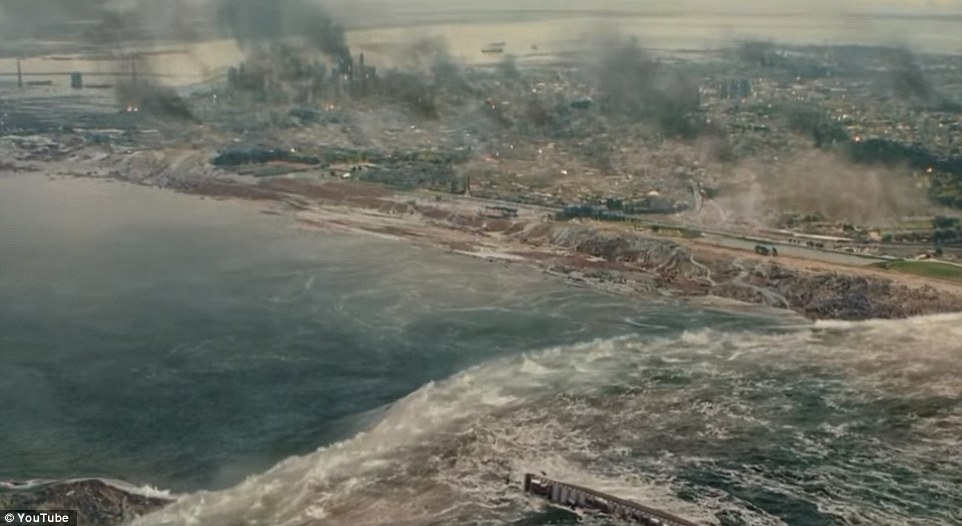 Pictured is a scene from the film San Andreas. Earthquakes triggered by the fault could cause significant tsunami effects across the Pacific, especially in Hawaii and California