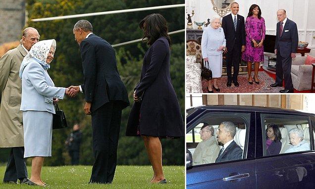 Barack e Michelle Obama almoçar com a Rainha no castelo de Windsor