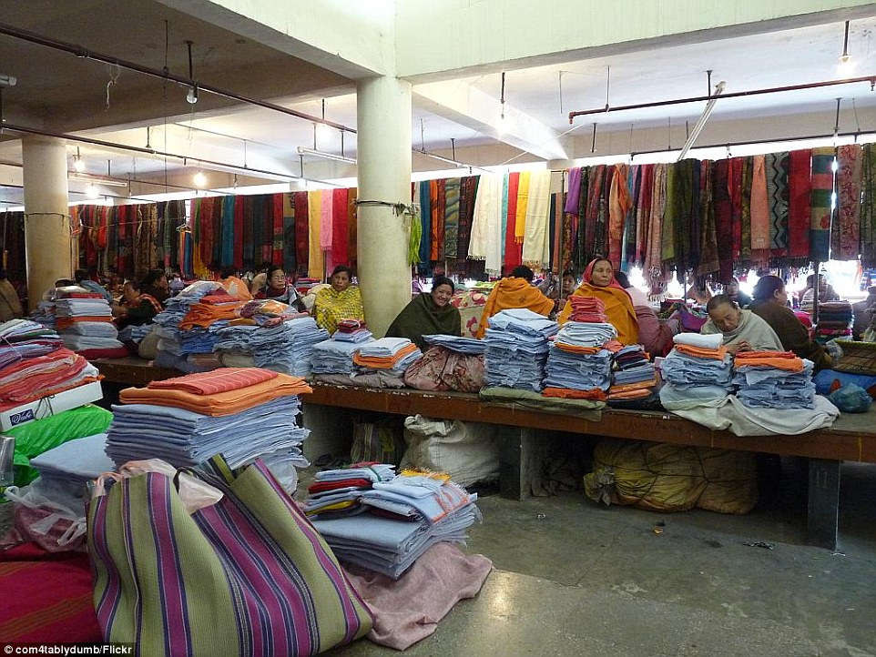 Fabric of life: A view of the section of cloth and textiles being sold at Ima Market in Imphal, Manipur