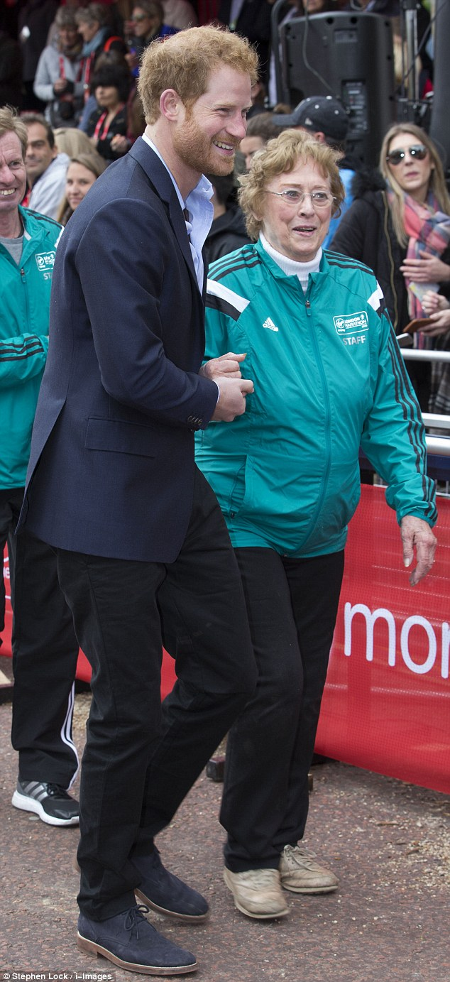 When former Olympian Sylvia Disley slipped over during the medal presentation at today's London marathon, at least she had a royal on hand to come to her rescue in the form of Prince Harry