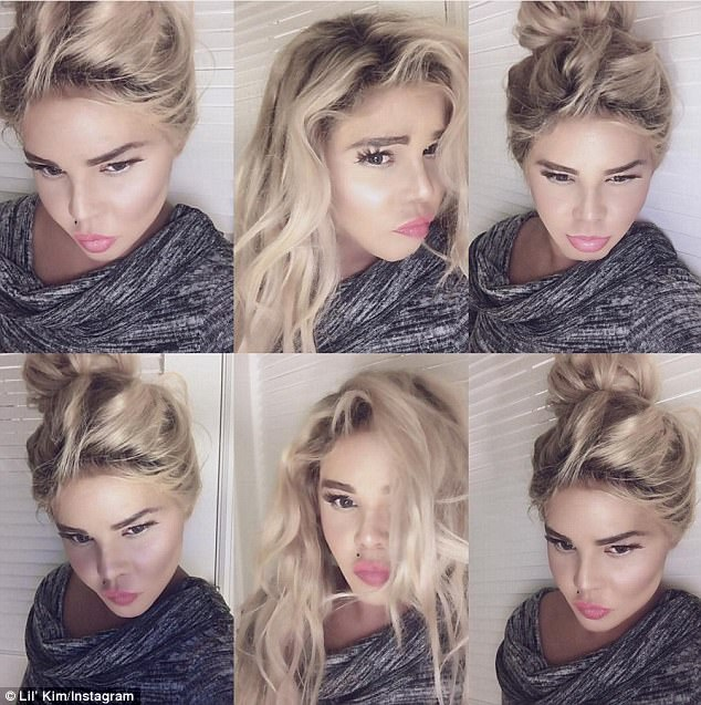 'Miami Heat!'Lil' Kim looked totally unrecognisable in a collage of selfies she Instagrammed while in Miami on Sunday