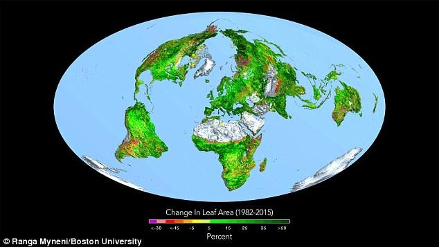 A Terra está ficando mais verde com o aumento dos níveis de dióxido de carbono, os pesquisadores têm revelado. Eles descobriram ao longo dos últimos 33 anos, cobertura de folhas em torno de mais de metade da área de vegetação do mundo aumentou. Eles dizem que a vegetação extra é equivalente a cobrir os EUA duas vezes com plantas