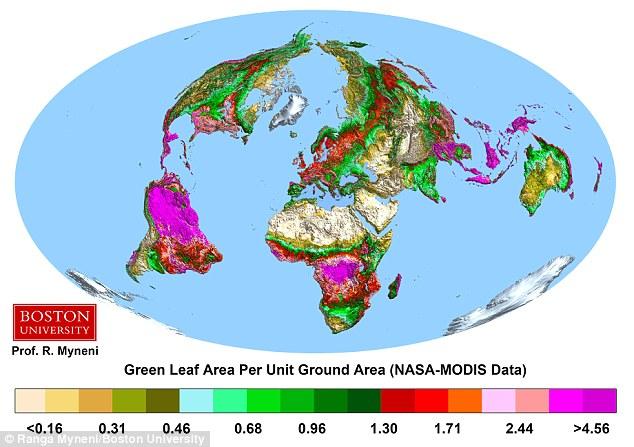 Os pesquisadores usaram dados de satélite para estudar como cobertura de folhas mudou em todo o mundo ao longo dos últimos 33 anos. Eles descobriram muitas áreas têm visto um aumento dramático na quantidade de cobertura de folha (ilustração acima)