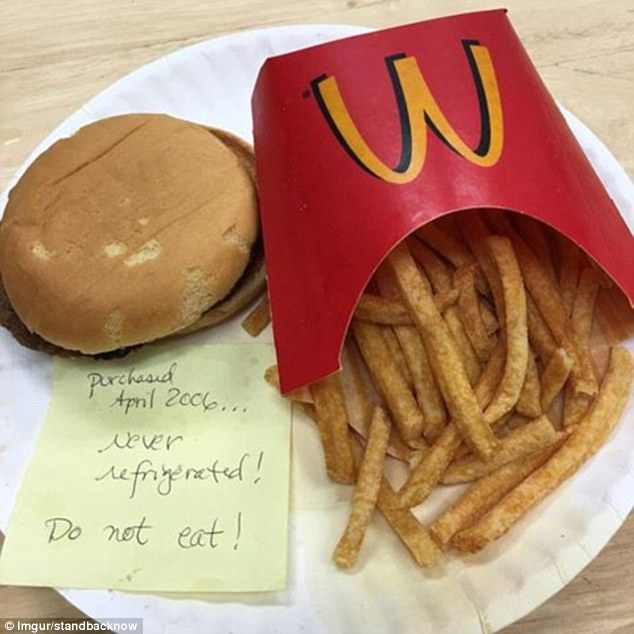 Don't eat!Back in 2016, a Reddit user, believed to be from the US, posted a photo of a McDonald's burger and fries that were 10 years old that month but looked brand new