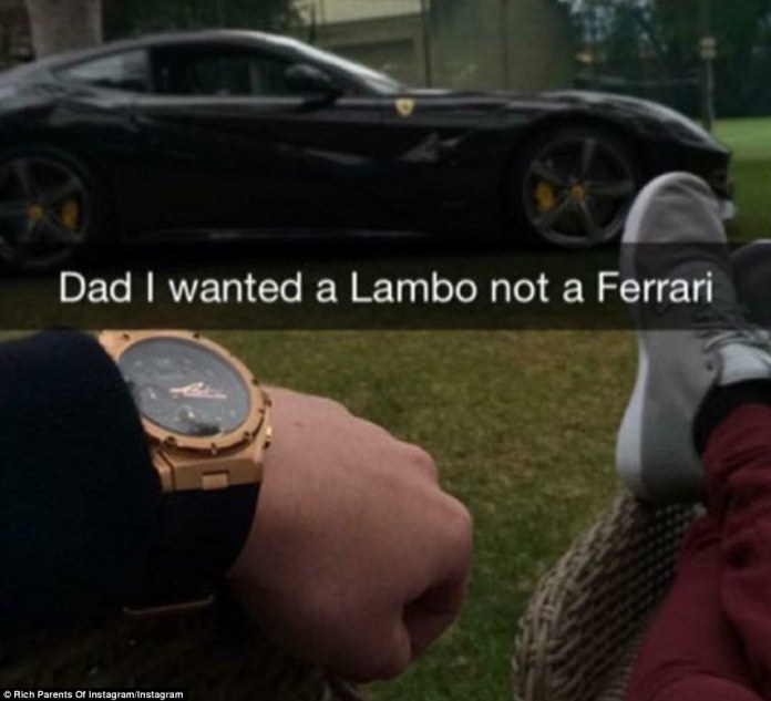 A rich dad shared a photo on the account of a Ferrari he gifted to his son who noted: 'Dad I wanted a Lambo not a Ferrari'