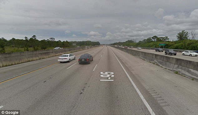 Police say Solis-Perez lost control of her car along this stretch of the I-95 near Jupiter, Florida, before hitting the concrete meridian and spinning back into the road, where she was hit by another vehicle