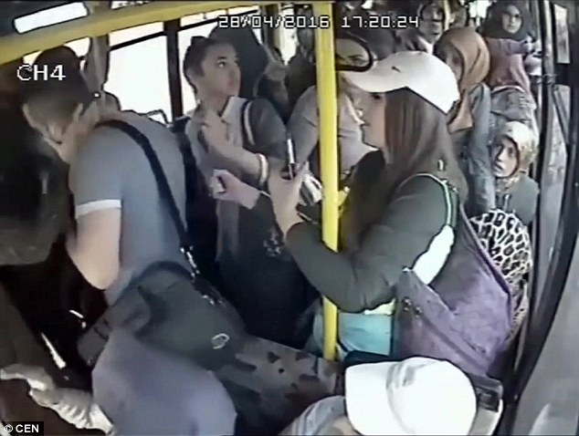 A group of female passengers on a bus in Turkey began attacking a man when he showed one of them his genitals