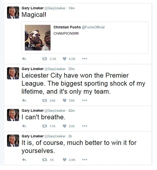 Meanwhile, former England and Leicester striker Gary Lineker, 55, hailed Leicester's Premier League title win as the 'biggest sporting shock of my lifetime' and said it had only gone and happened to 'his team'