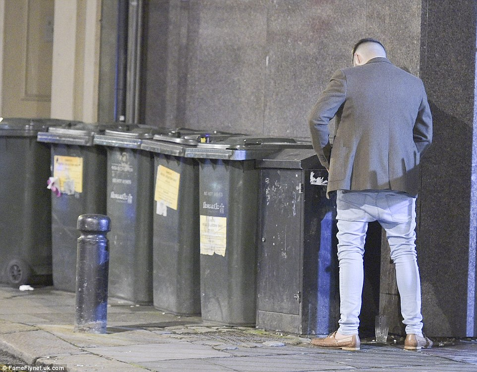 One reveller appeared to be caught on camera urinating against a wall as boozing in the northern city reached a high over the Bank Holiday
