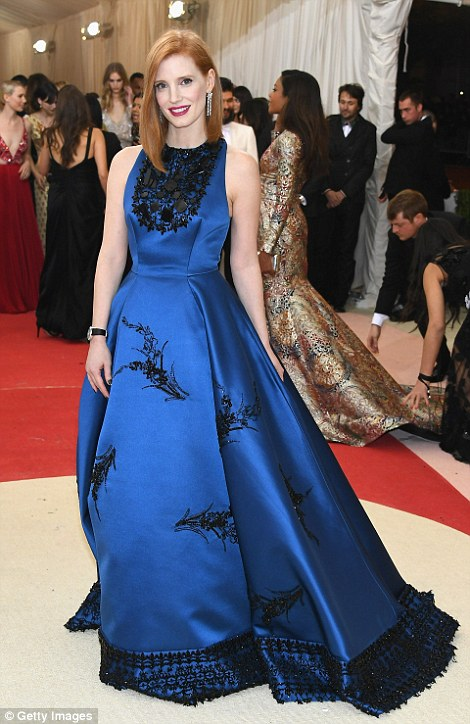 Beauty in blue: Jessica Chastain went for a princess feel in her gorgeous ballgown