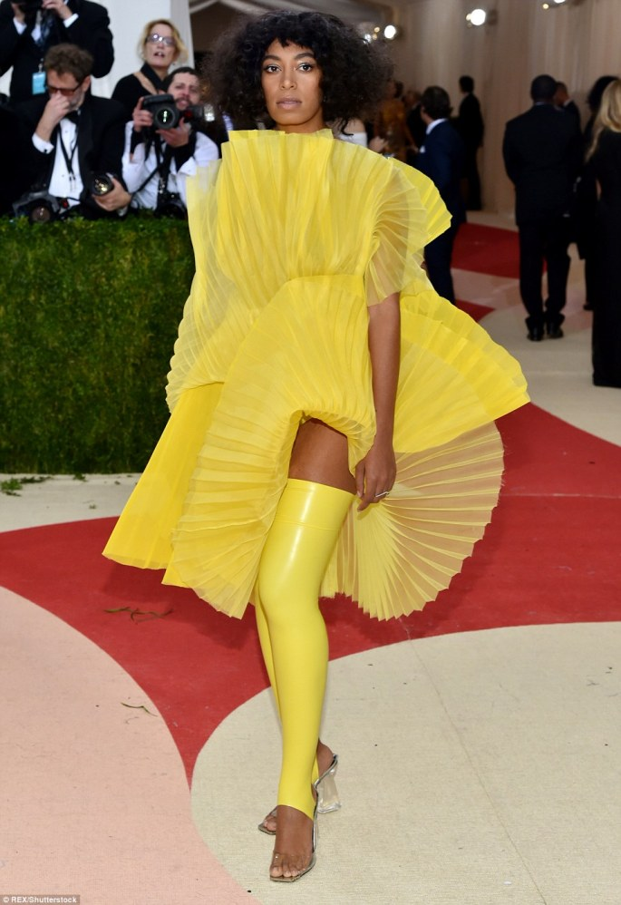 Vibrant: Beyonce's sister Solange Knowles incorporated latex into her bright yellow look