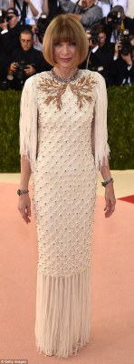 Overseeing the action! Vogue editor-in-chief Anna Wintour, who is chairwoman of the Met Gala, was the first to arrive wearing a tasseled and ornately patterned gown on Monday in New York