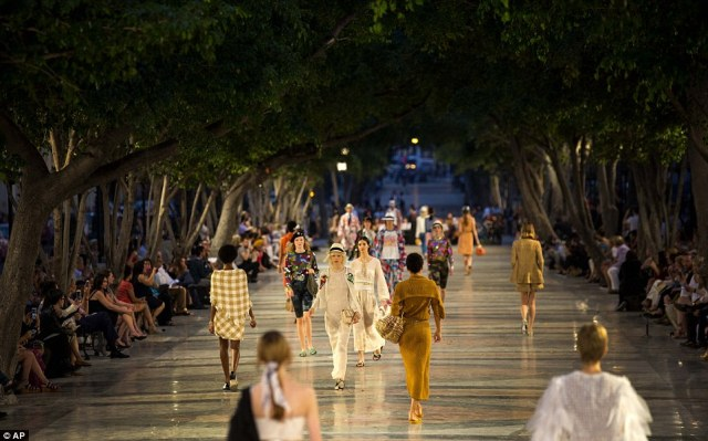 Spectacular: The premiere of Chanel 2016/2017 'cruise' line offered a startling sight in a country officially dedicated to social equality and the rejection of material wealth