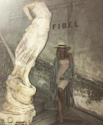 Not impressed: Khloe Kardashian has found herself in hot water with fans for posing in front of a monument dedicated to Fidel Castro. on Wednesday