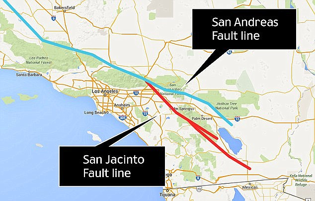 Julian Lozos, an assistant geophysics professor at California State University, claimed there is a strong chance this quake will coincide with one along the adjacent San Jacinto fault line, which runs through more heavily-populated cities. Both fault lines are shown above