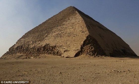 The Bent Pyramid in Dahshur (pictured),  is distinguished by the bent slope of its sides.  It has two entrances, which opens onto two corridors leading to two burial chambers arranged one above the other