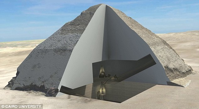 Previous scans using muons at the Bent Pyramid, 25 miles south of Cairo, gave the first detailed scans of the pyramid's internal structure. The 3D images show the internal chambers of the 4,600-year-old structure, as well as clearly revealing the shape of its second chamber, 60 feet above it (illustrated)