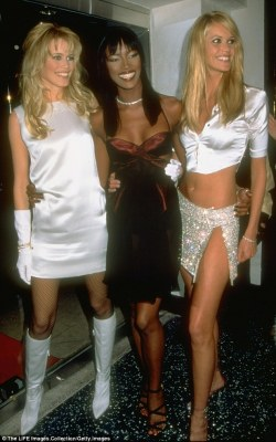 Flashback:Elle Macpherson has showcased the figure that made her famous in a flashback photograph from her Nineties heyday alongside fellow icons Naomi Campbell and Claudia Schiffer