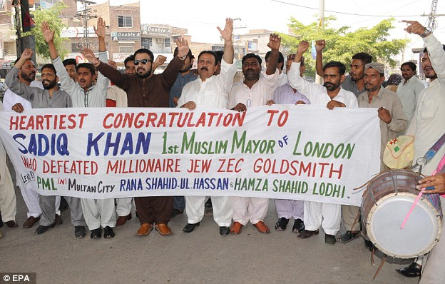 Supporters of the ruling Pakistan Muslim League Nawaz are shown celebrating the victory of Sadiq Khan