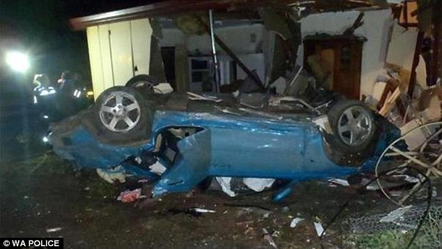 The power and gas supply were both cut off so the car could be dragged out of the severely damaged home