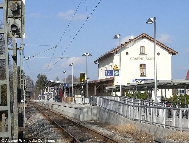 The attack took place at Grafing station, pictured. Bavarian Radio broadcast that the attacker was a 'young German man not previously known to police
