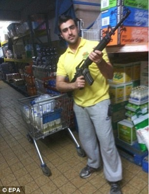 Nasri, pictured again with the weapon, was arrested with Gulistan Ahmadzai and they were detained in relation to an investigation into plans to stage terror attacks in Rome and London