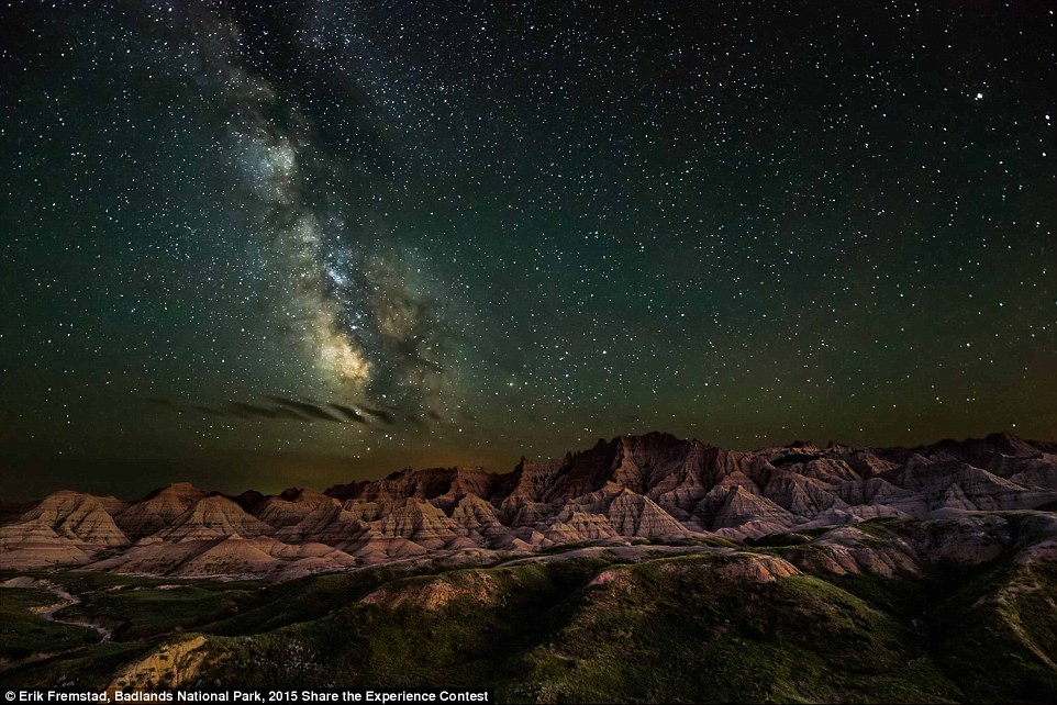 Night Skies Winner: This captivating image by Erik Fremstad was taken in the Badlands National Park and shows the rocky landscape illuminated by the Milky Way