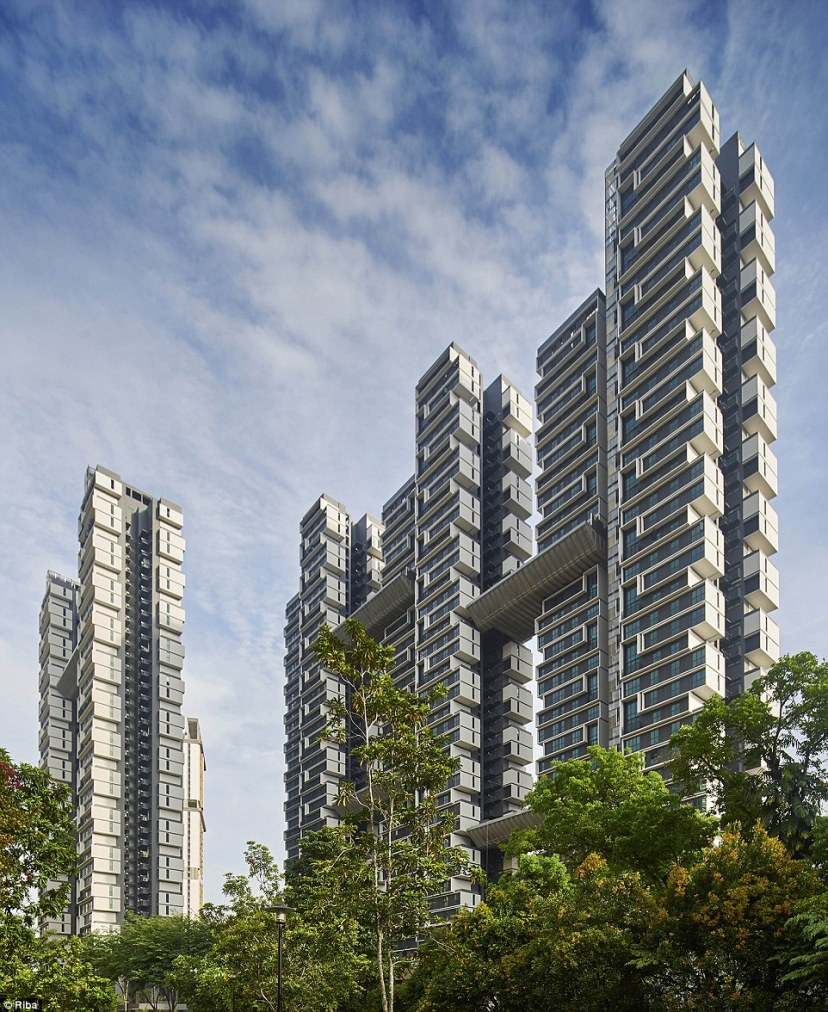 There are 960 apartments in Sky Terrace, an apartment complex in the Soo Khian Chan area of Singapore. The five residential towers were designed with energy-efficient living and social interaction in mind. There is a rainwater harvesting system, drip irrigation and solar panels