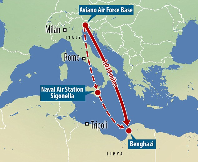 US fighter jets could have flown from their base on Aviano Air Force Base in northern Italy to the Naval Air Station Sigonella to refuel before providing air support over Benghazi according to a source