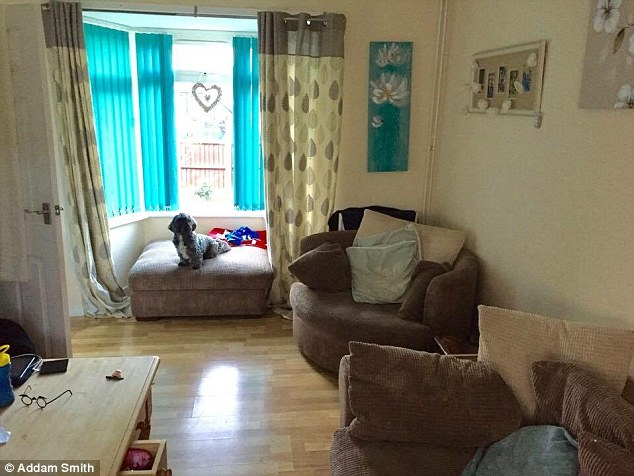 Delight: Mr Ellick, from Lincoln, said he was stunned at the transformation – and overwhelmed by the workers' generosity of time and spirit. Pictured: The family's living room before